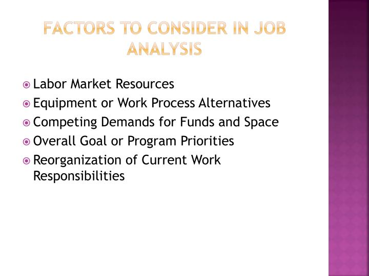 Factors to consider in job analysis