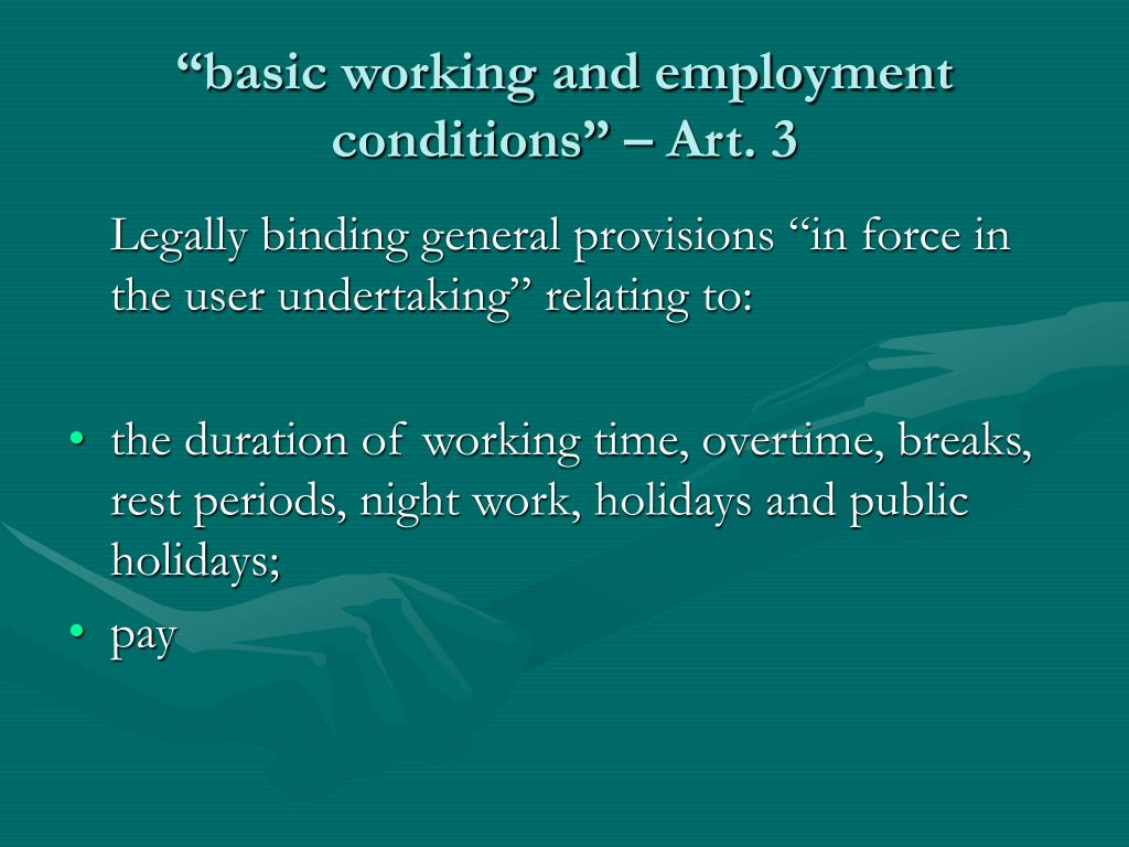 """""""basic working and employment conditions"""" – Art. 3"""