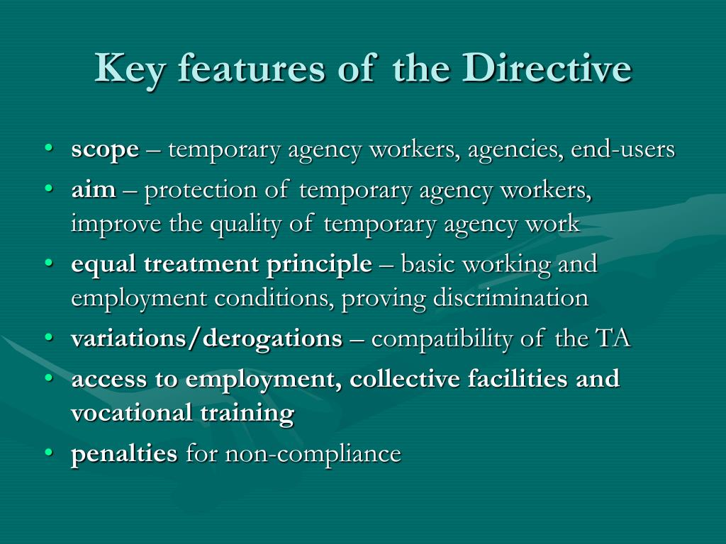 Key features of the Directive