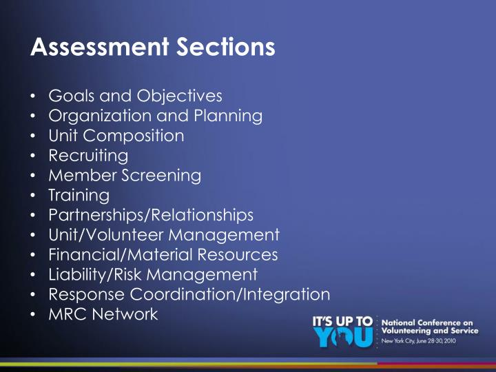 Assessment Sections