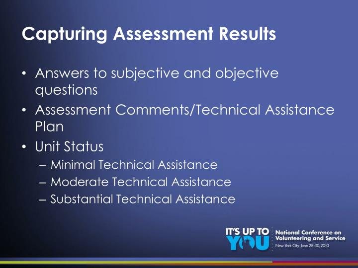 Capturing Assessment Results