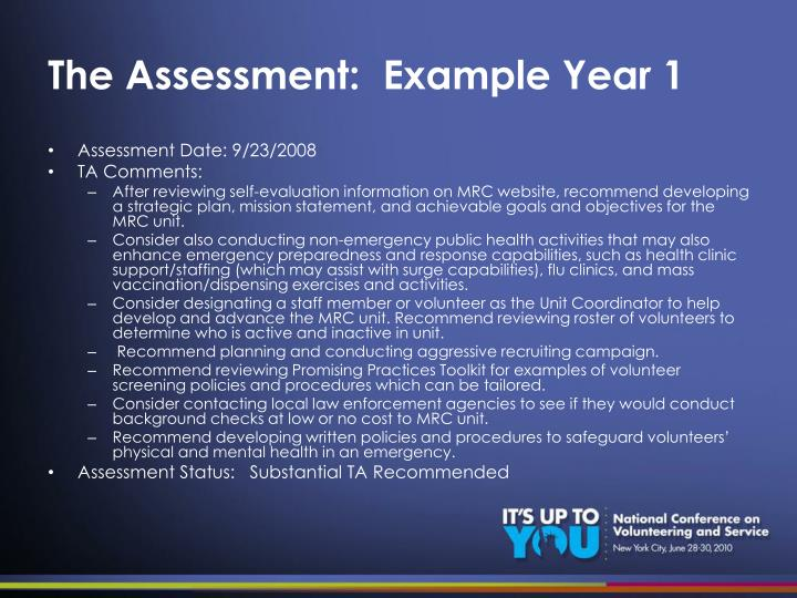 The Assessment:  Example Year 1