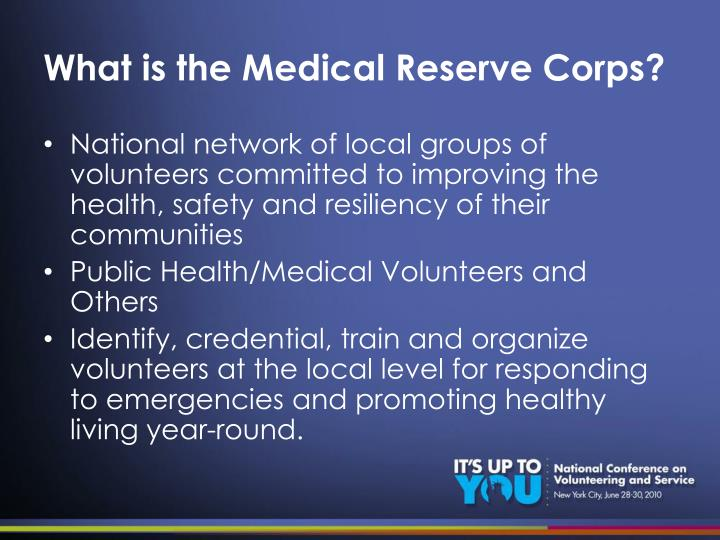 What is the medical reserve corps