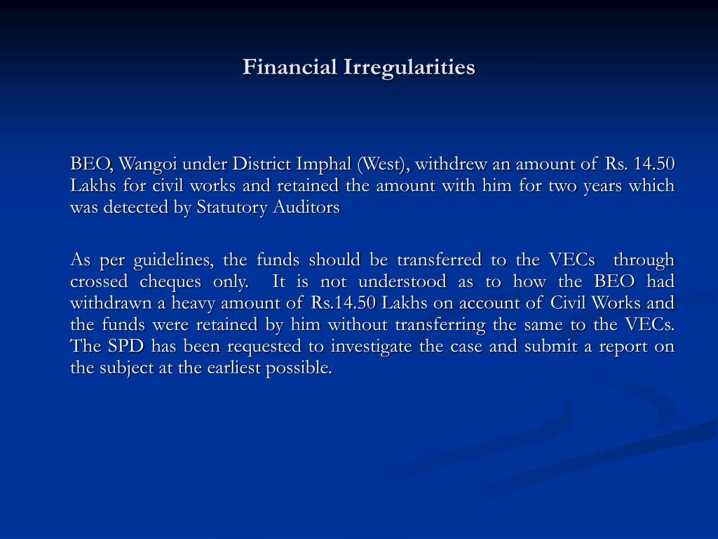Financial Irregularities