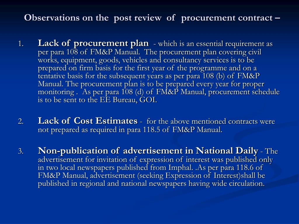 Observations on the  post review  of  procurement contract –