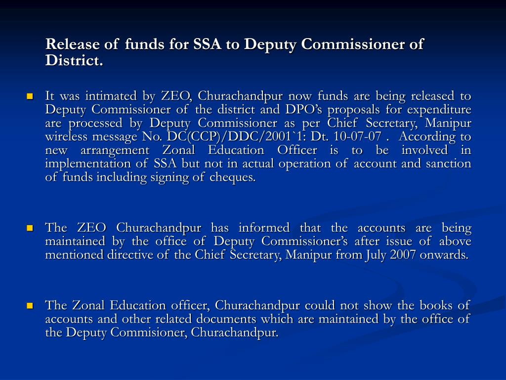 Release of funds for SSA to Deputy Commissioner of District.