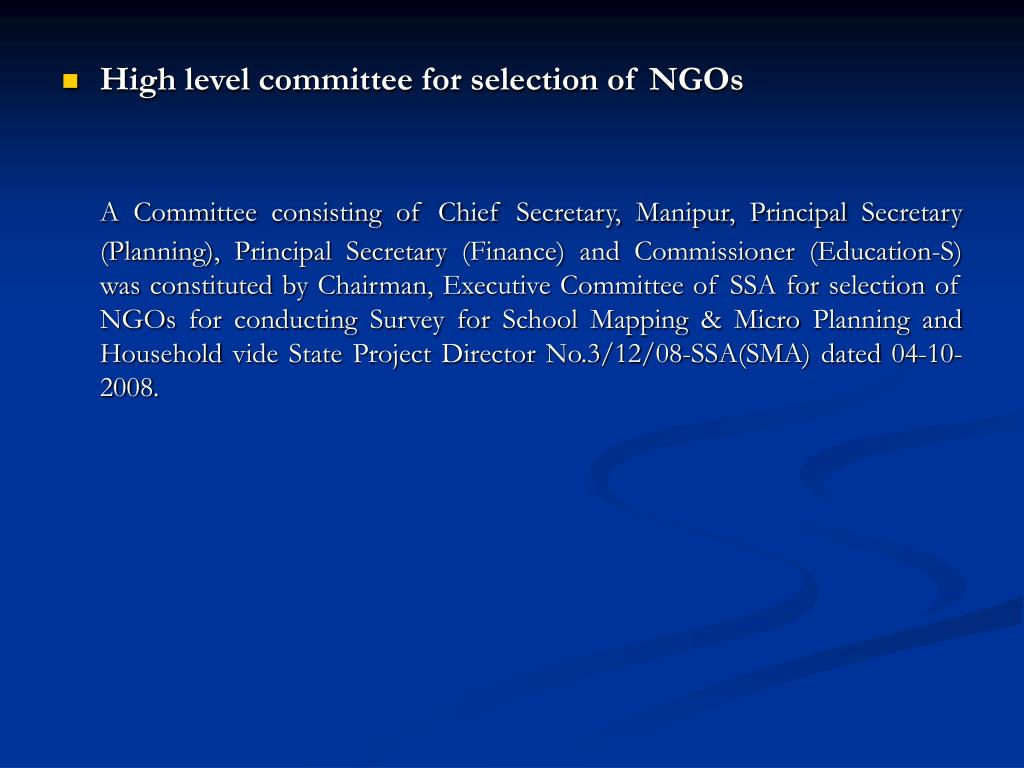 High level committee for selection of NGOs
