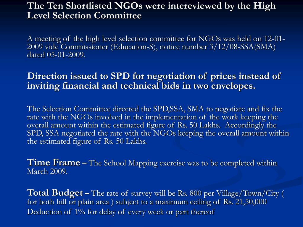 The Ten Shortlisted NGOs were intereviewed by the High Level Selection Committee