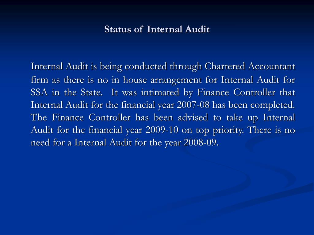 Status of Internal Audit