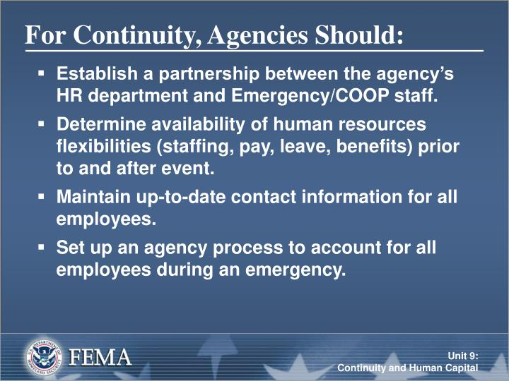 For Continuity, Agencies Should: