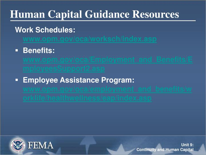 Human Capital Guidance Resources