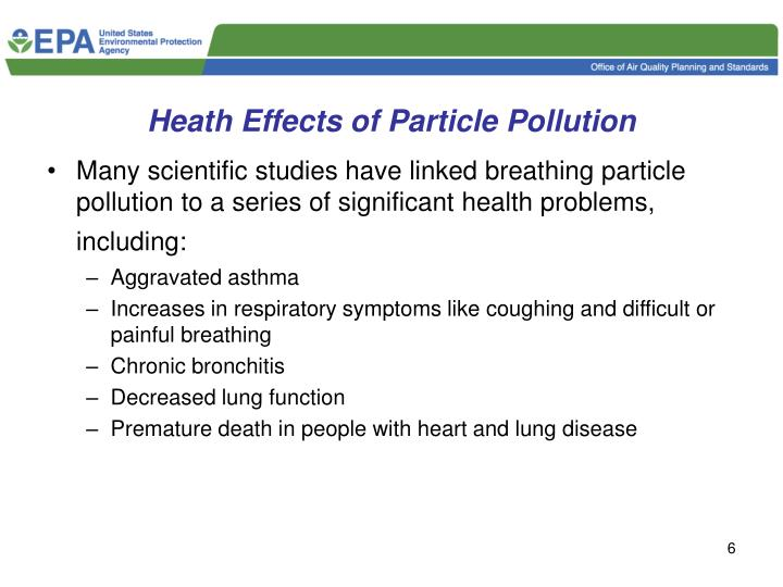 Heath Effects of Particle Pollution