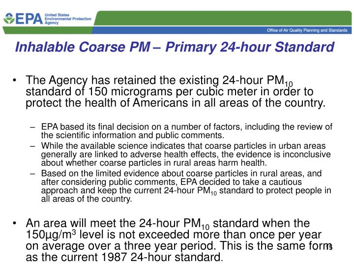 Inhalable Coarse PM – Primary 24-hour Standard