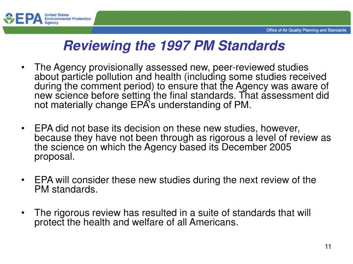 Reviewing the 1997 PM Standards