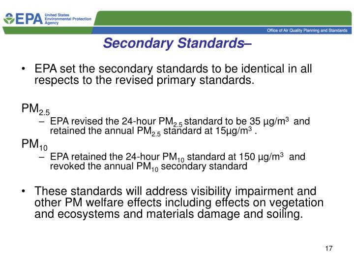 Secondary Standards–