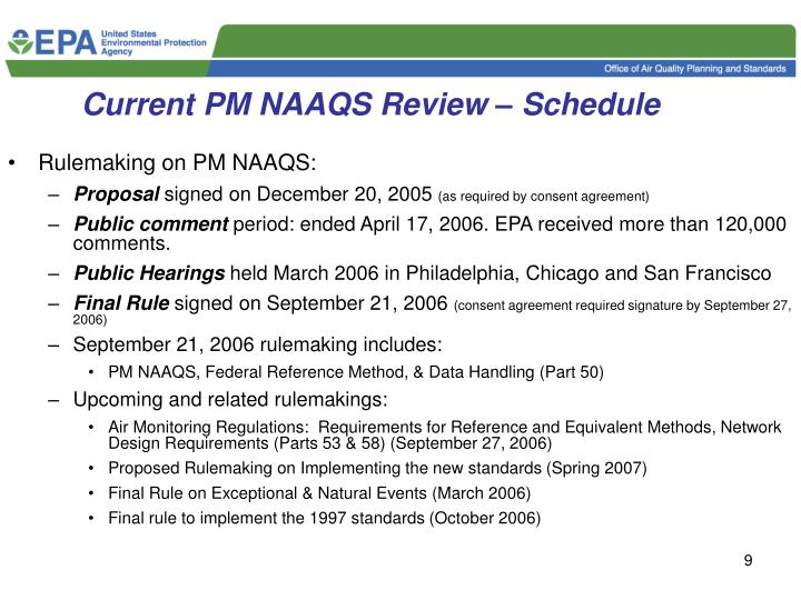 Current PM NAAQS Review – Schedule