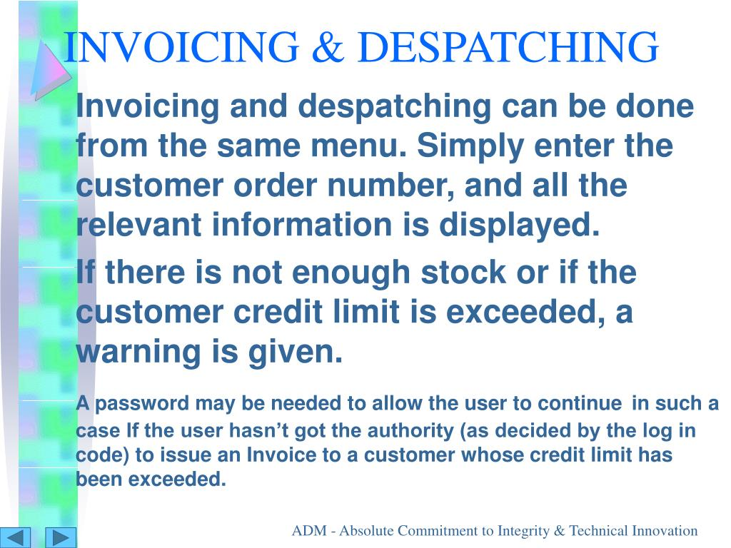 INVOICING & DESPATCHING