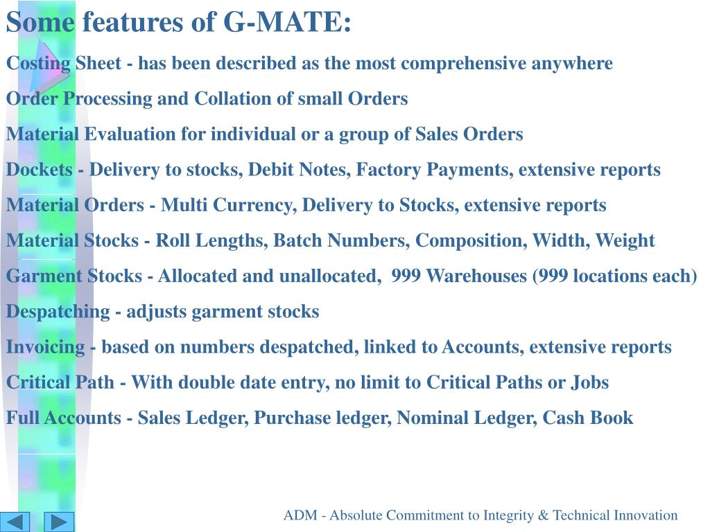 Some features of G-MATE: