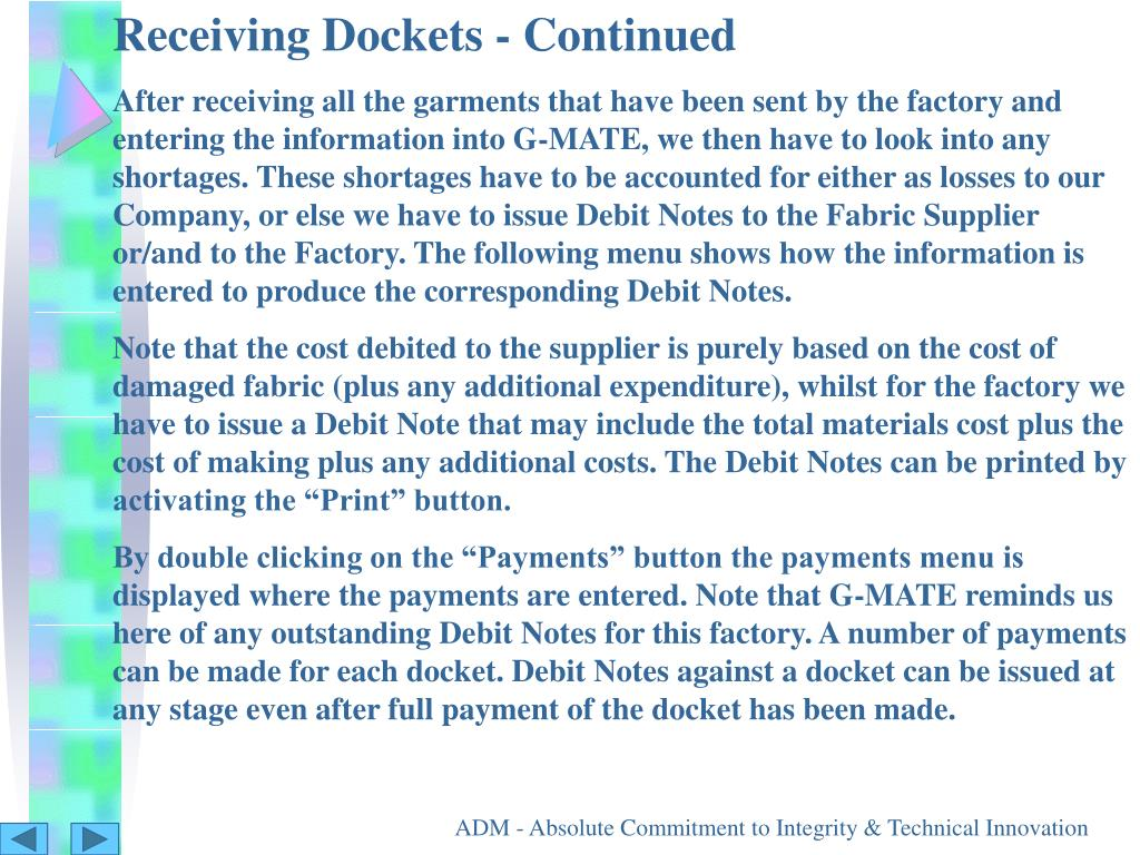 Receiving Dockets - Continued