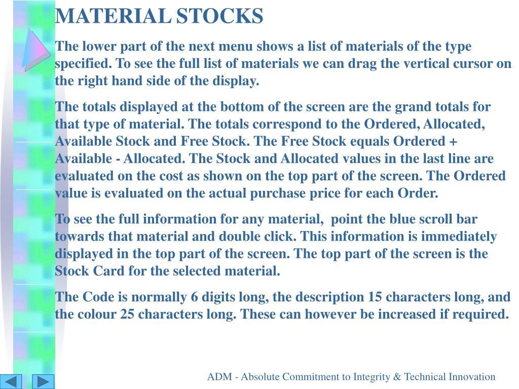 MATERIAL STOCKS