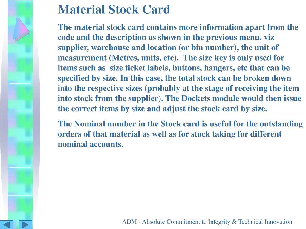 Material Stock Card