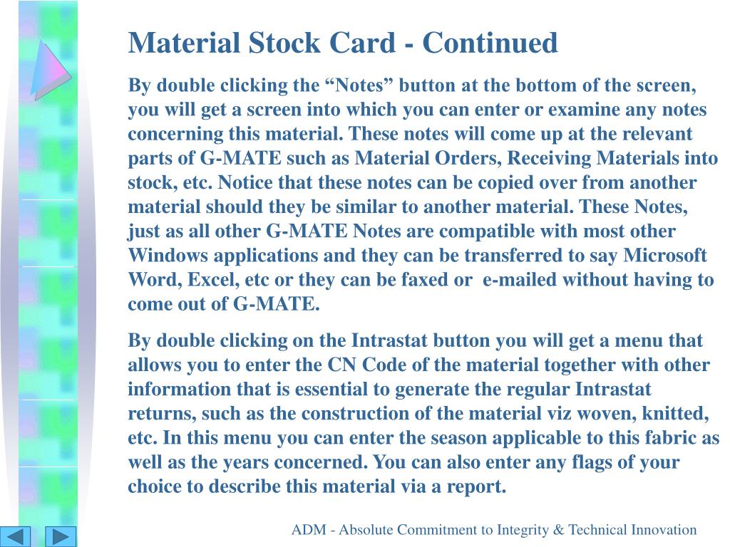 Material Stock Card - Continued