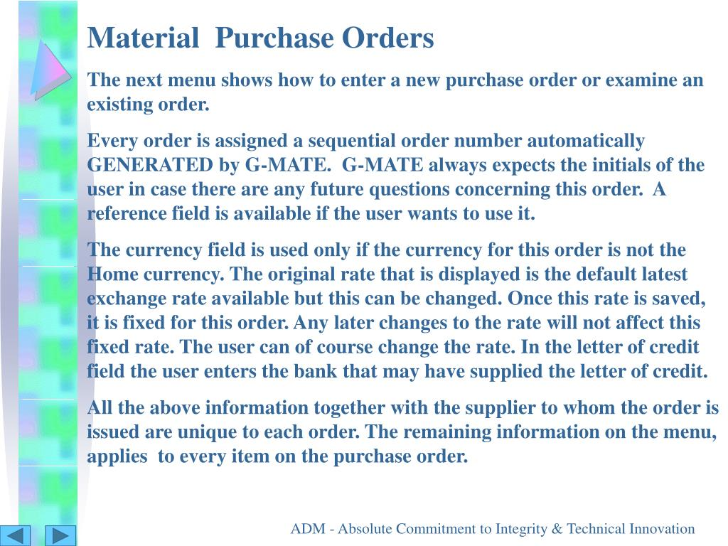 Material  Purchase Orders