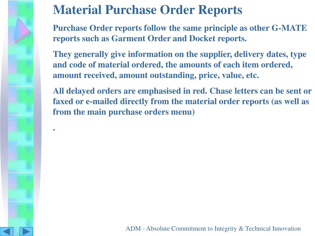 Material Purchase Order Reports