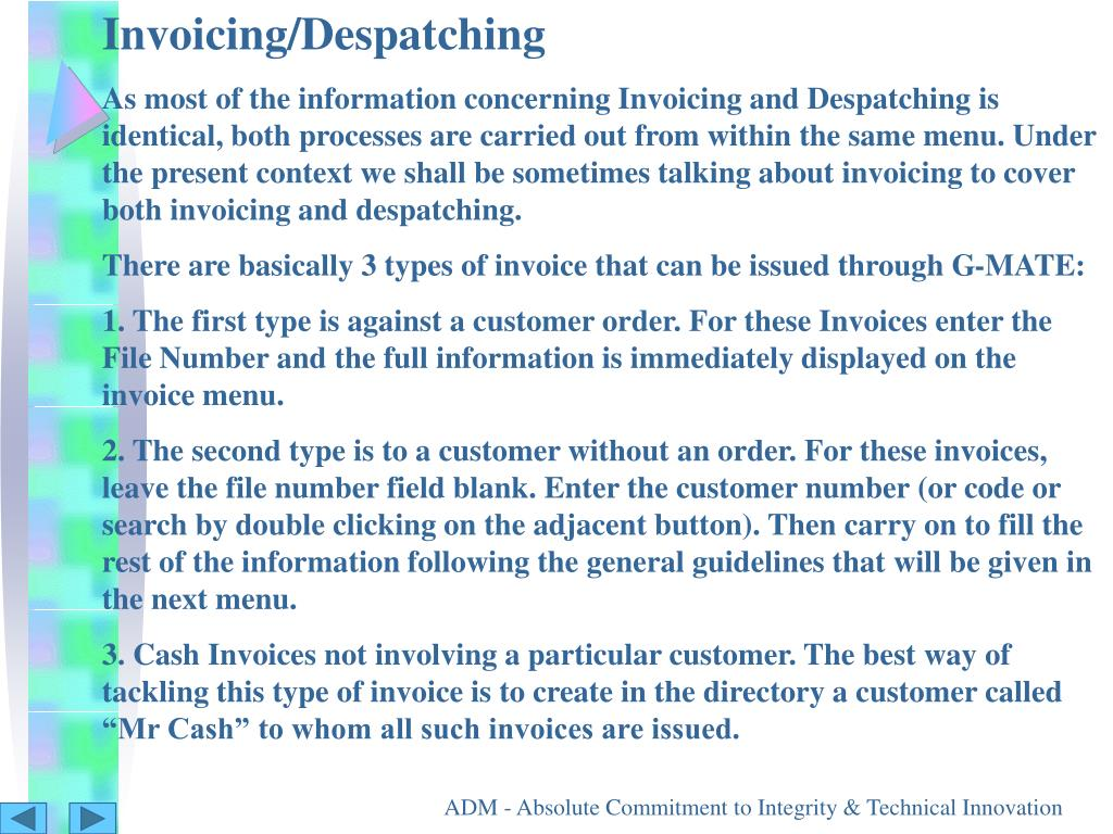 Invoicing/Despatching