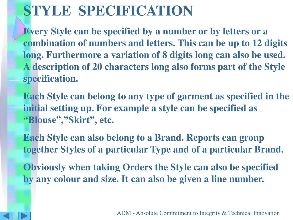STYLE  SPECIFICATION