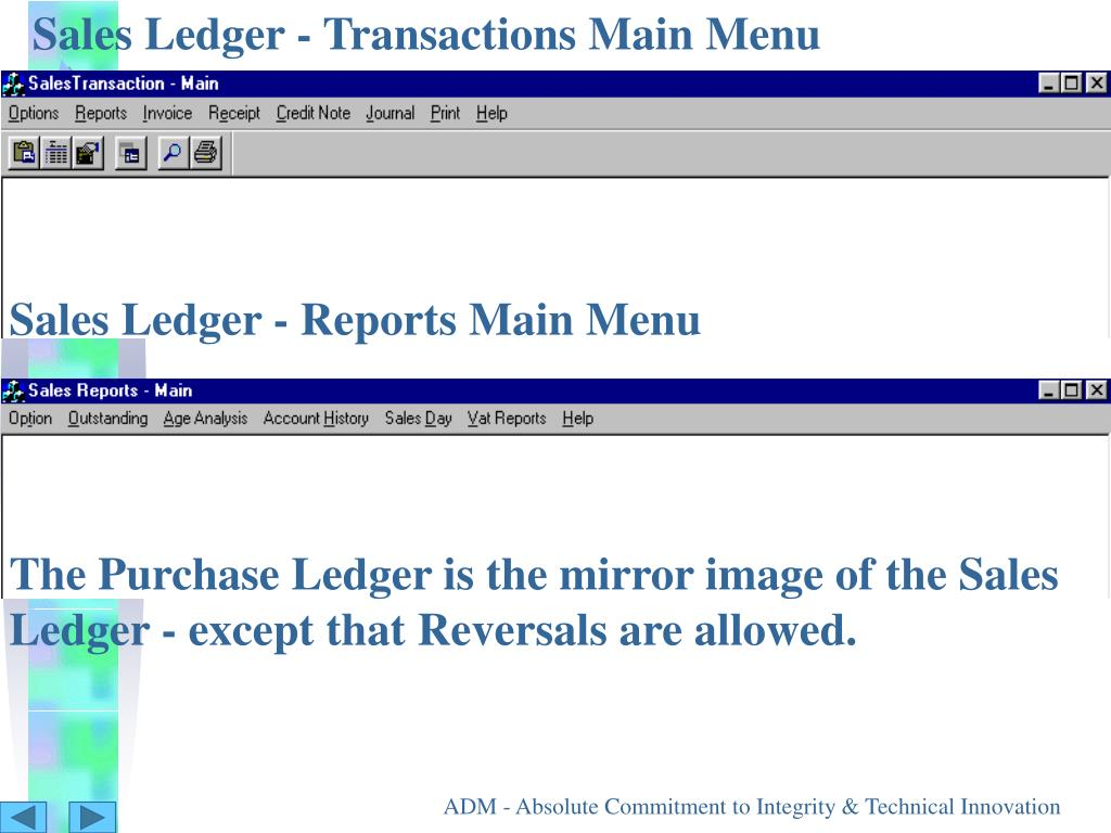 Sales Ledger - Transactions Main Menu