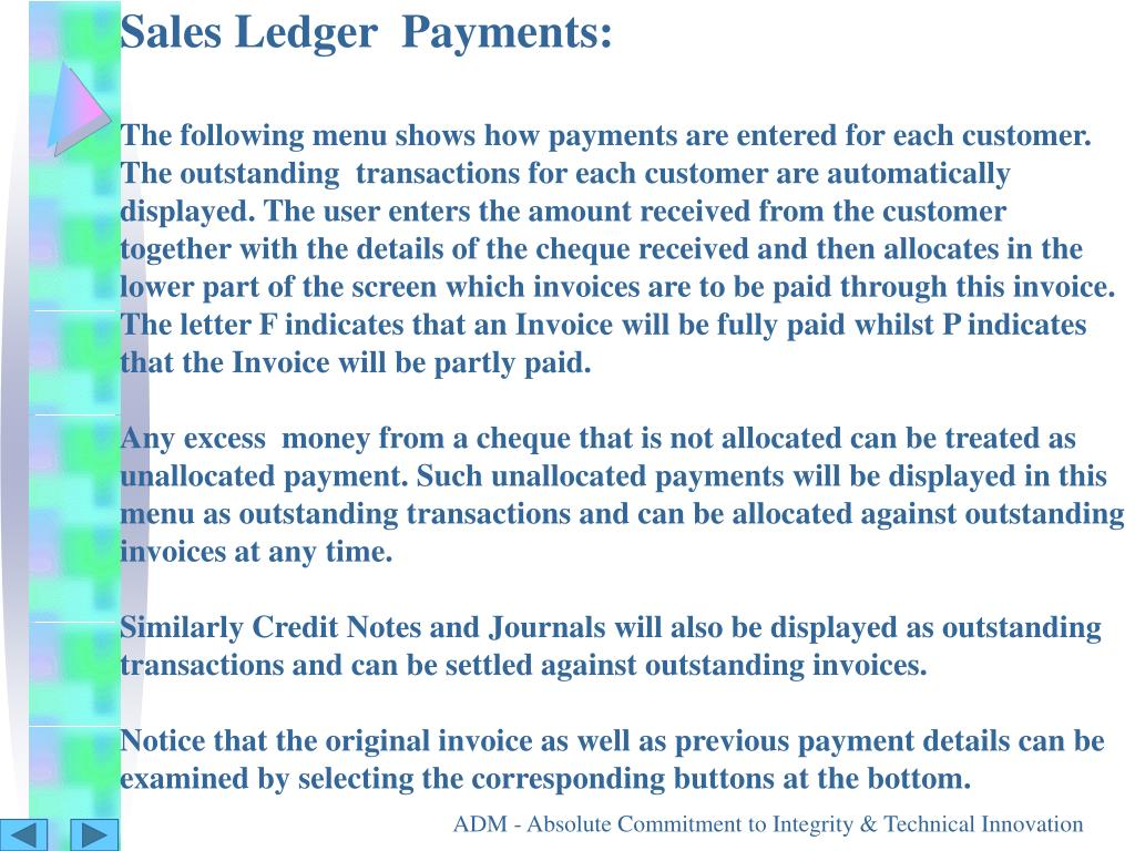 Sales Ledger  Payments: