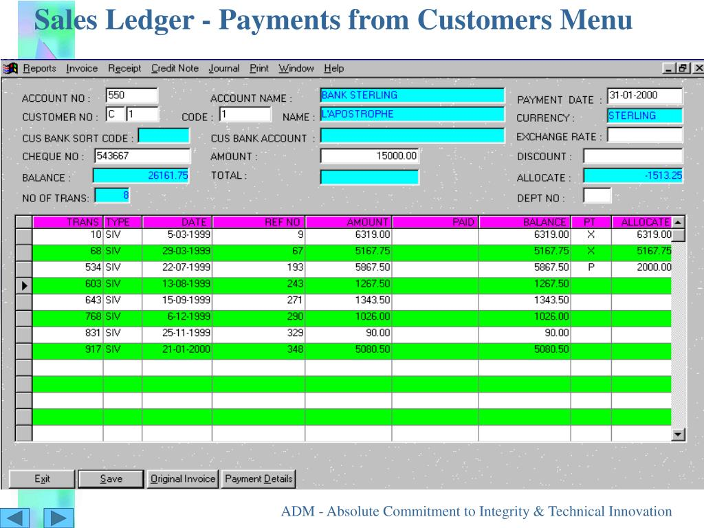Sales Ledger - Payments from Customers Menu