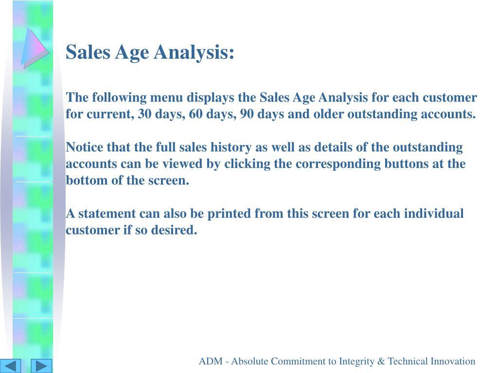 Sales Age Analysis: