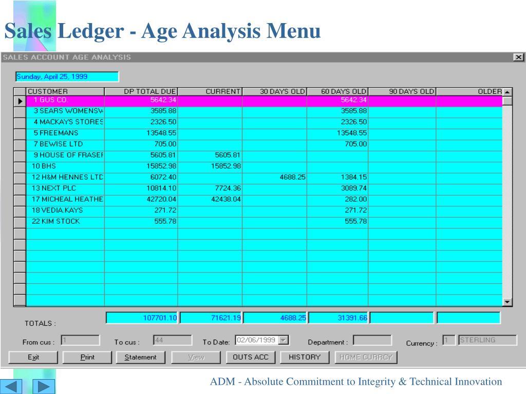 Sales Ledger - Age Analysis Menu