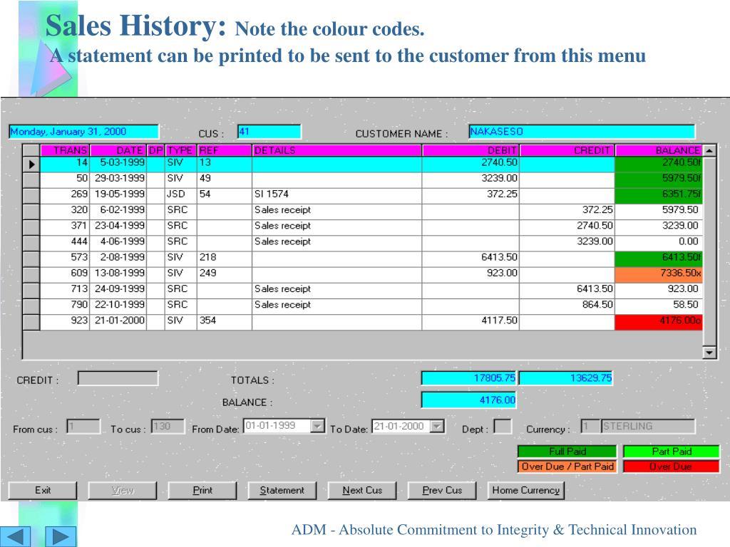 Sales History: