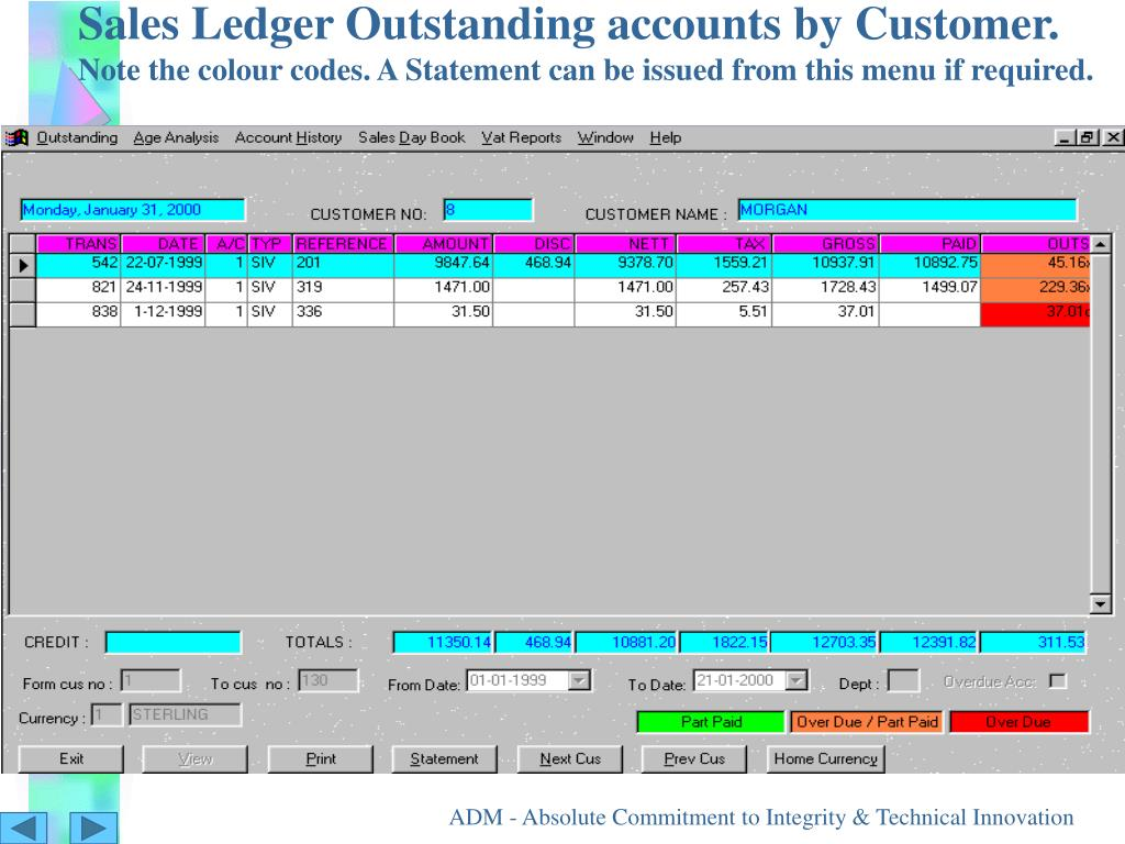 Sales Ledger Outstanding accounts by Customer.