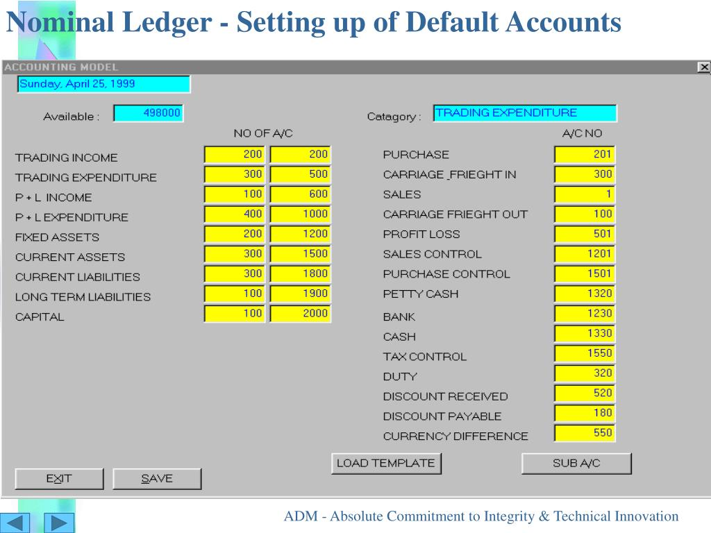Nominal Ledger - Setting up of Default Accounts