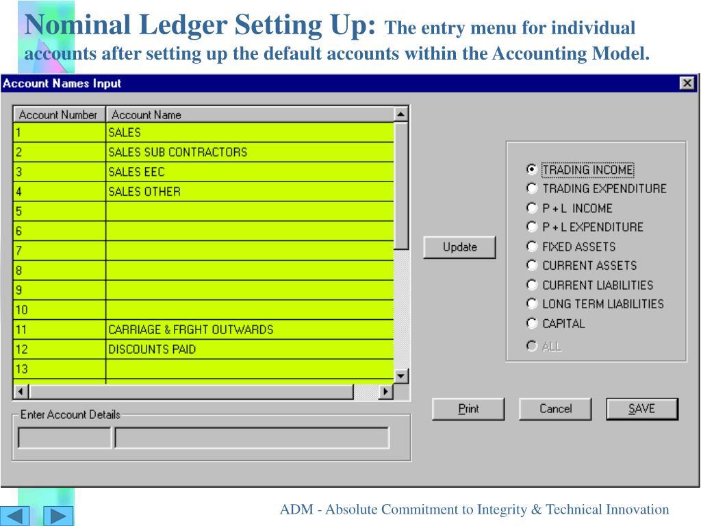 Nominal Ledger Setting Up: