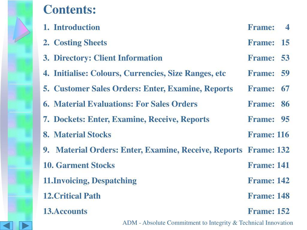 Contents: