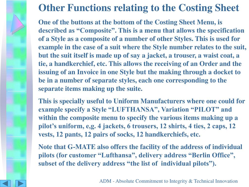 Other Functions relating to the Costing Sheet