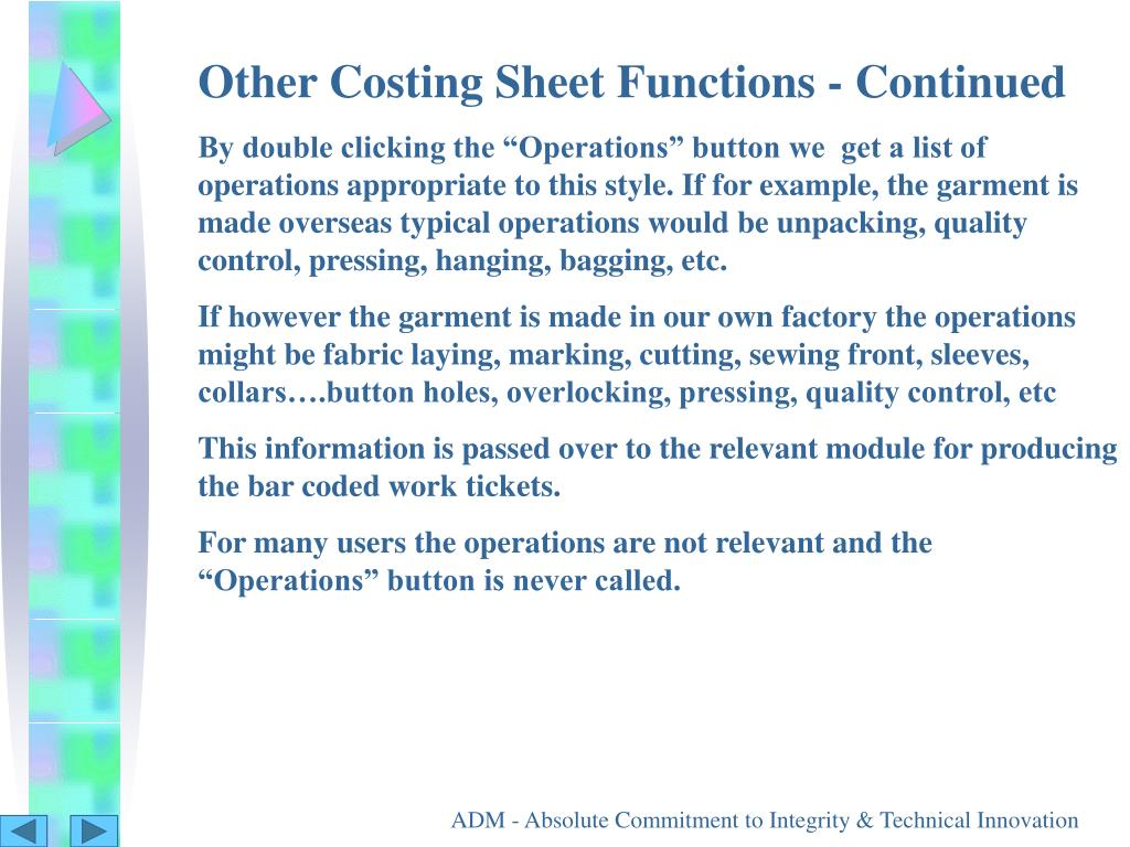 Other Costing Sheet Functions - Continued