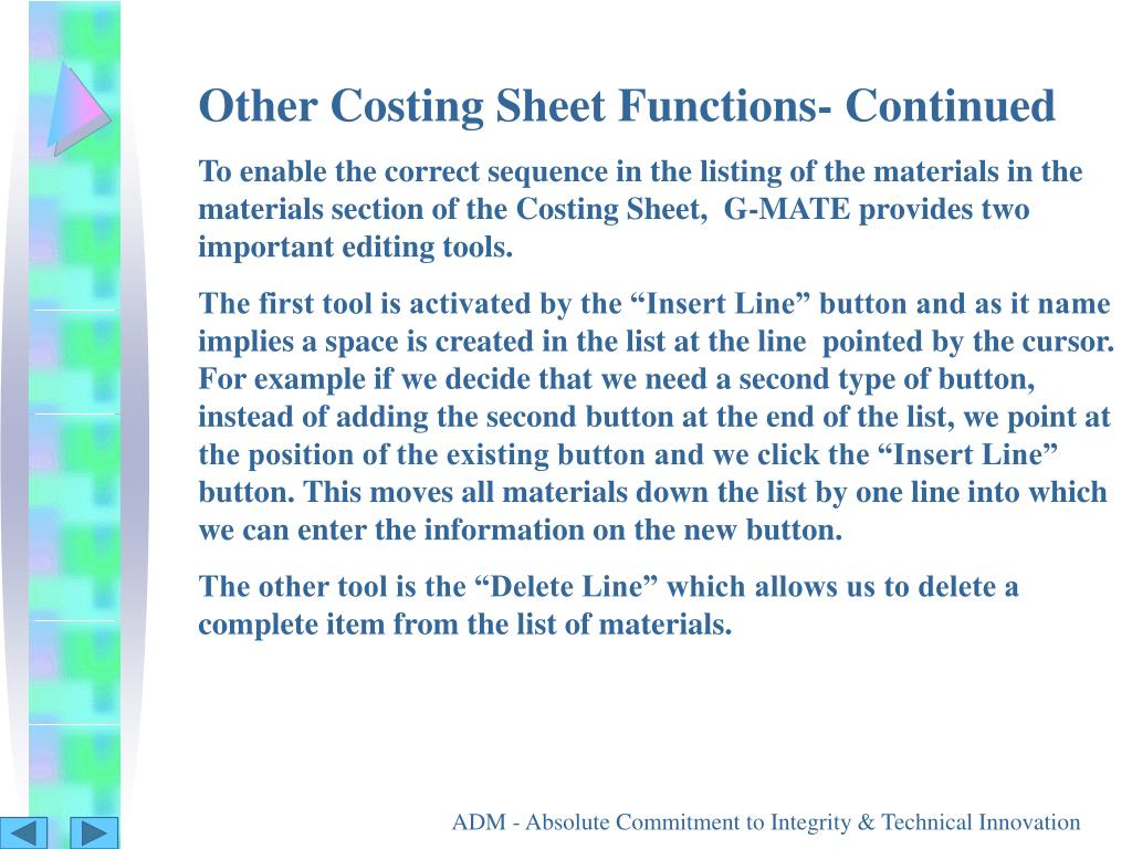 Other Costing Sheet Functions- Continued
