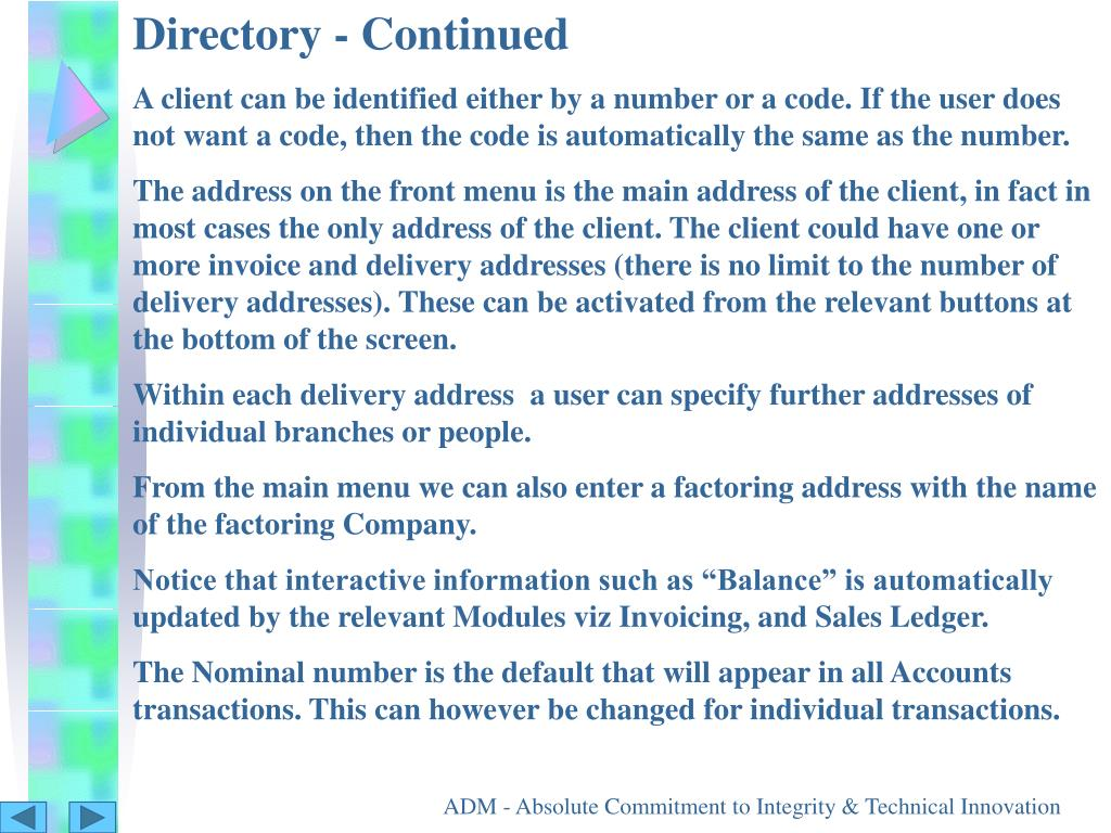 Directory - Continued