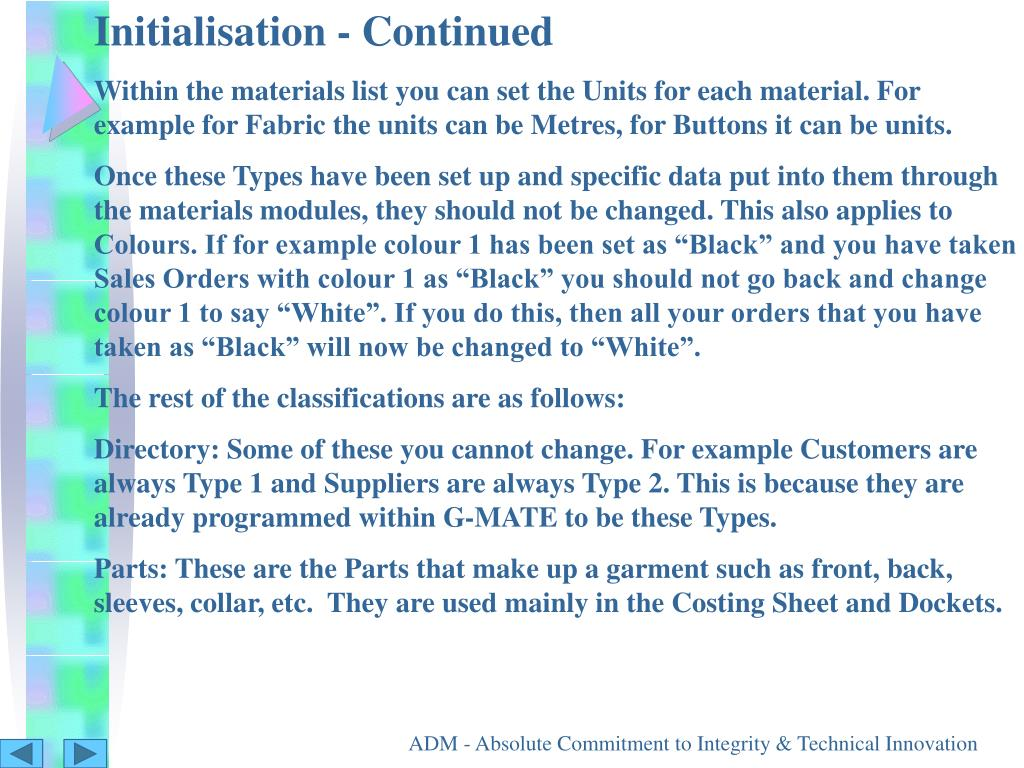 Initialisation - Continued