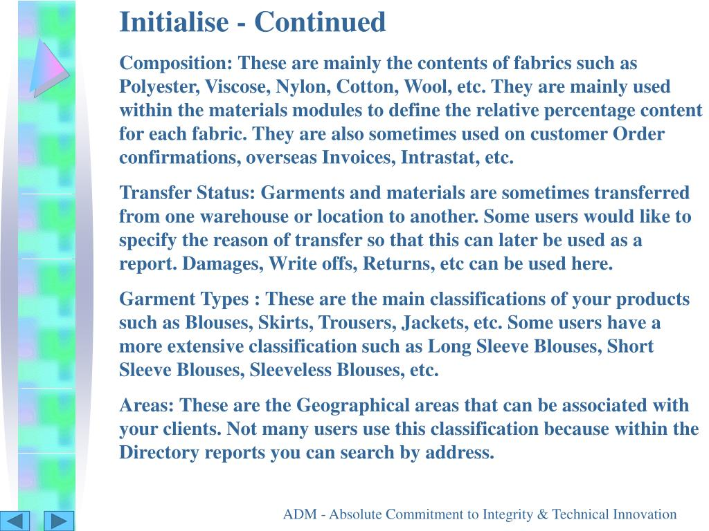 Initialise - Continued