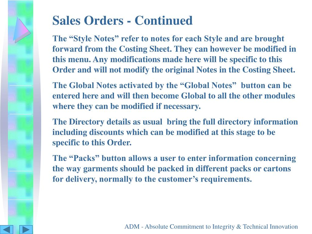 Sales Orders - Continued