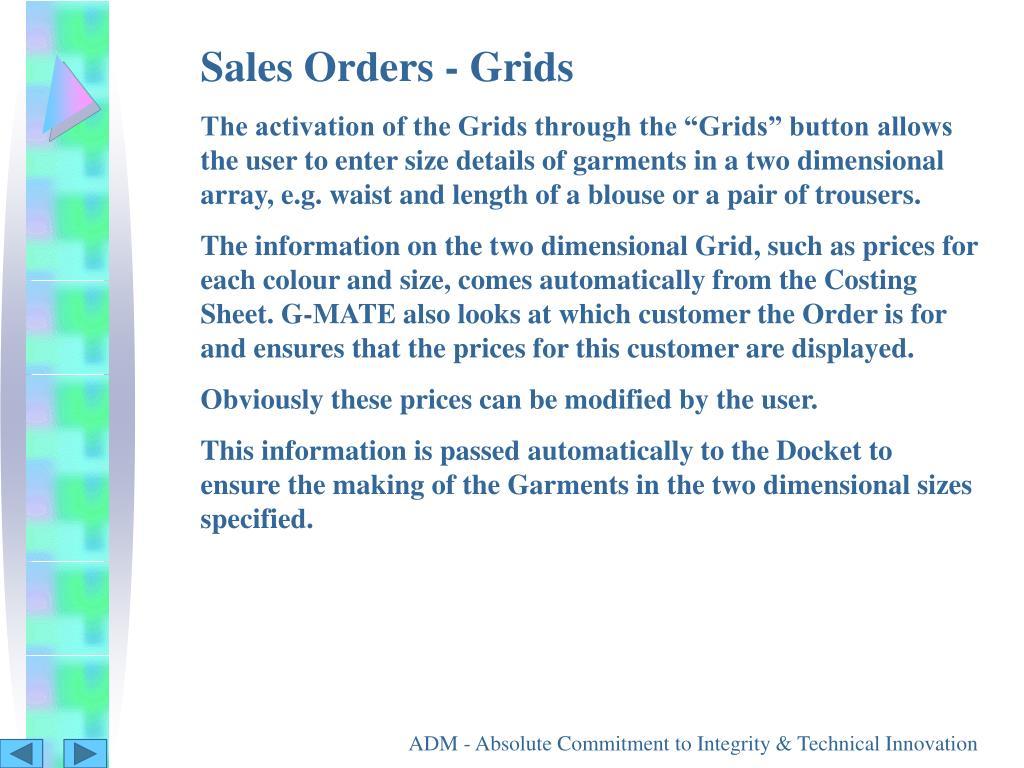 Sales Orders - Grids