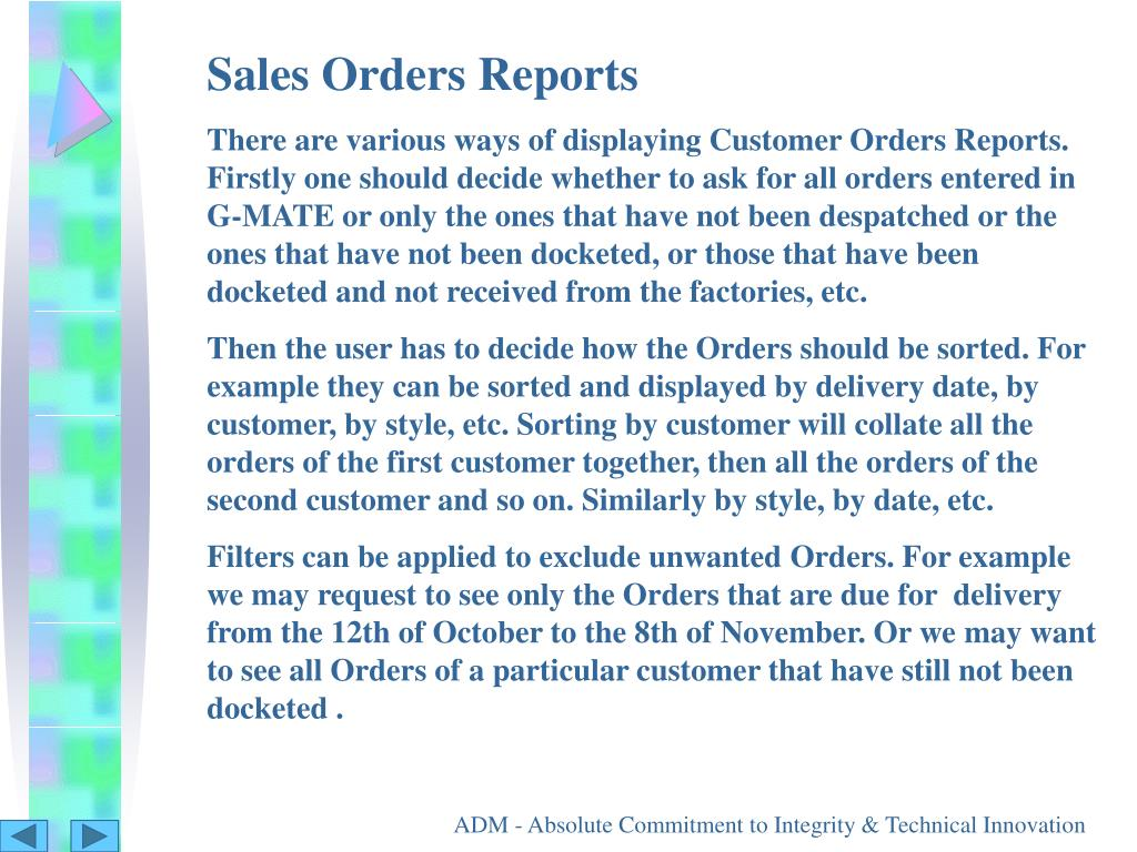 Sales Orders Reports
