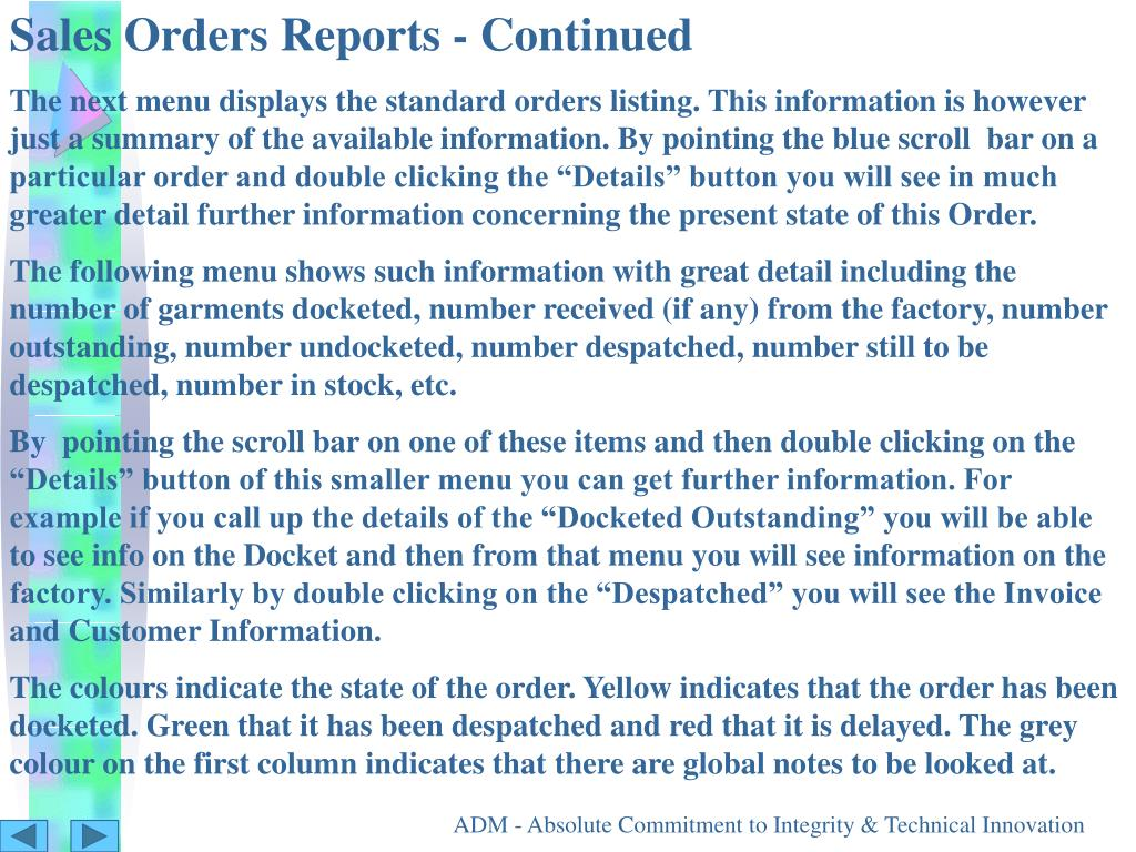 Sales Orders Reports - Continued